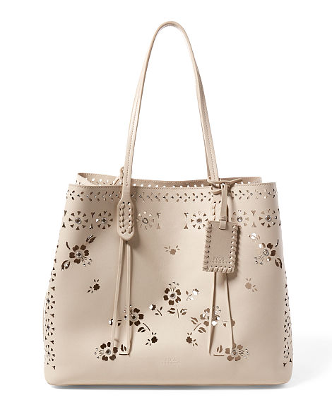 LASER-CUT FLORAL LEATHER TOTE